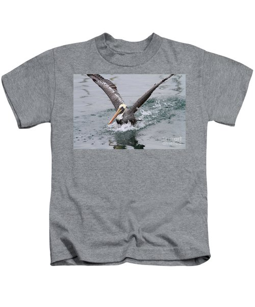 Brown Pelican Landing On Water . 7d8372 Kids T-Shirt