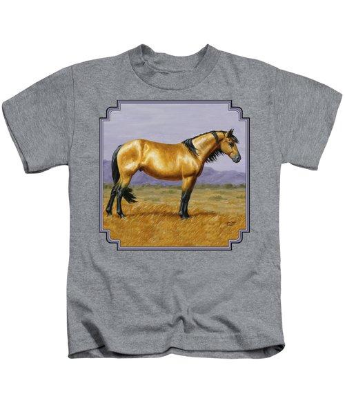Buckskin Mustang Stallion Kids T-Shirt by Crista Forest