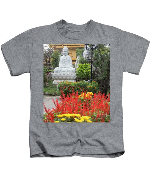 Buddha Red Flowers  Kids T-Shirt