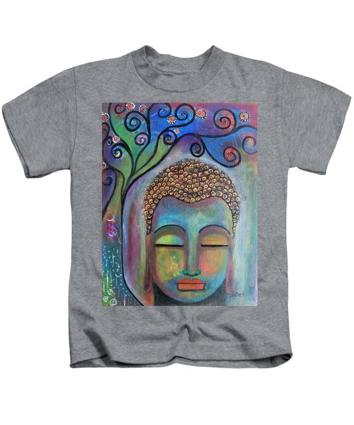 Buddha With Tree Of Life Kids T-Shirt