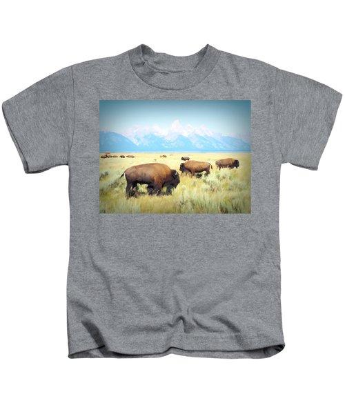 Buffalo Roam, Smokey Grand Tetons, Wyoming Kids T-Shirt