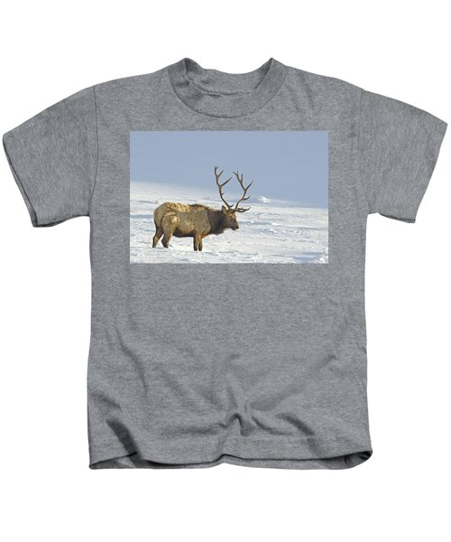 Bull Elk In Snow Kids T-Shirt