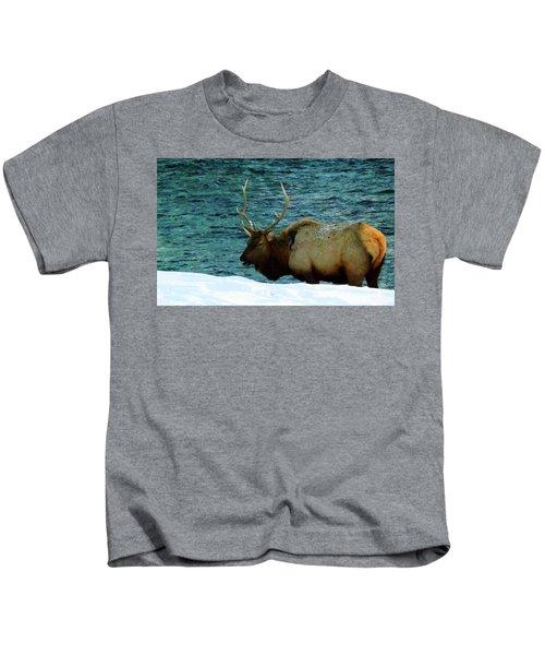 Bull Elk In Winter Kids T-Shirt
