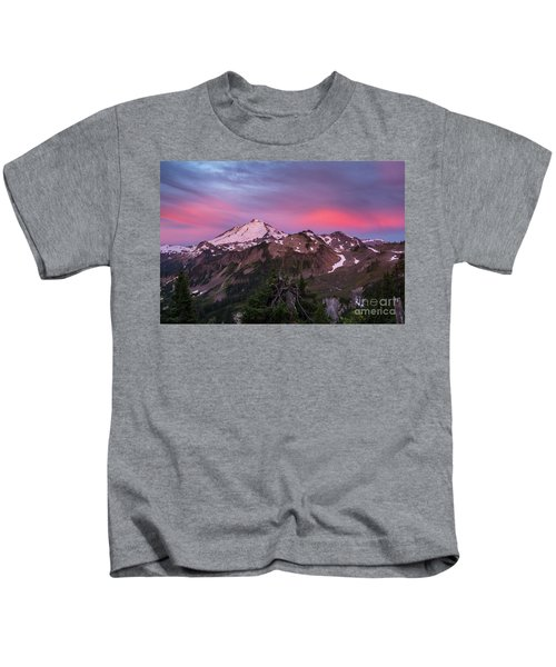 Burning Sunrise Skies Above Mount Baker Kids T-Shirt
