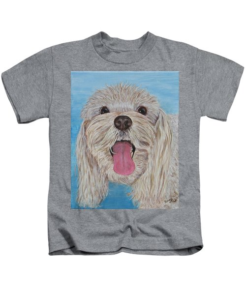 Kids T-Shirt featuring the painting Buster by Nancy Nale