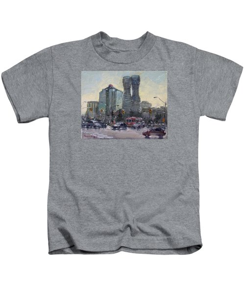 Busy Morning In Downtown Mississauga Kids T-Shirt