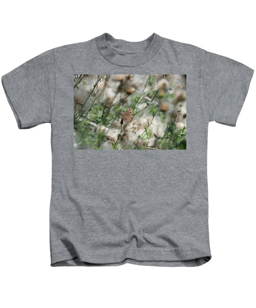 Butterfly In Puffy Seed Heads Kids T-Shirt