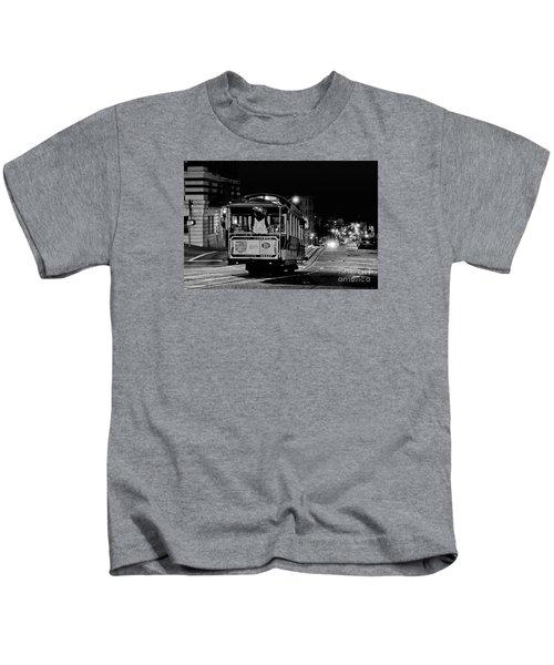 Cable Car At Night - San Francisco Kids T-Shirt