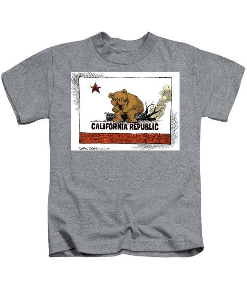 California Fire Bear Grieves Kids T-Shirt