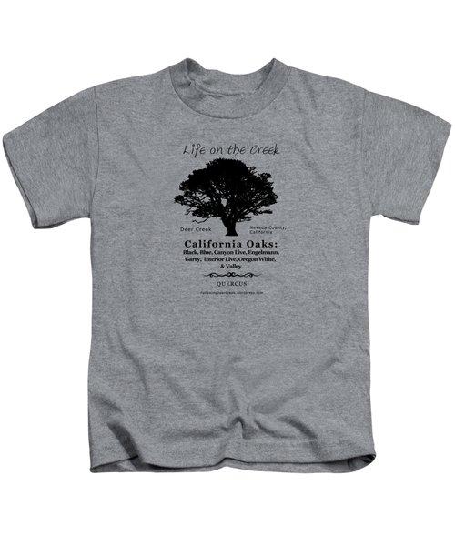 California Oak Trees - Black Text Kids T-Shirt