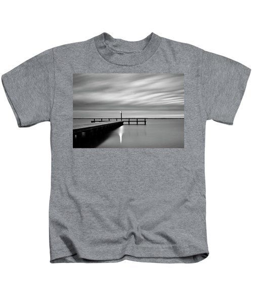 Calm Barnegat Bay New Jersey Black And White Kids T-Shirt