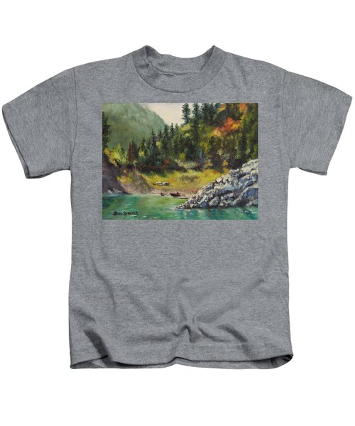 Camping On The Lake Shore Kids T-Shirt