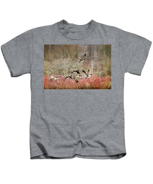 Canada Geese In Flight Kids T-Shirt