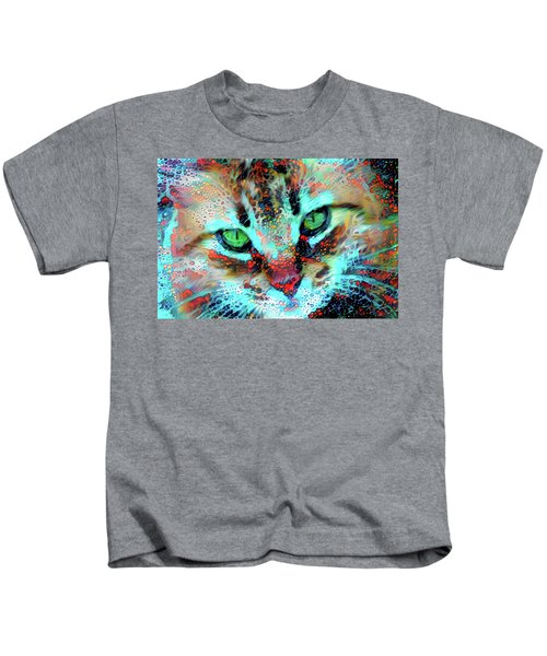 Candy The Colorful Green Eyed Cat Kids T-Shirt