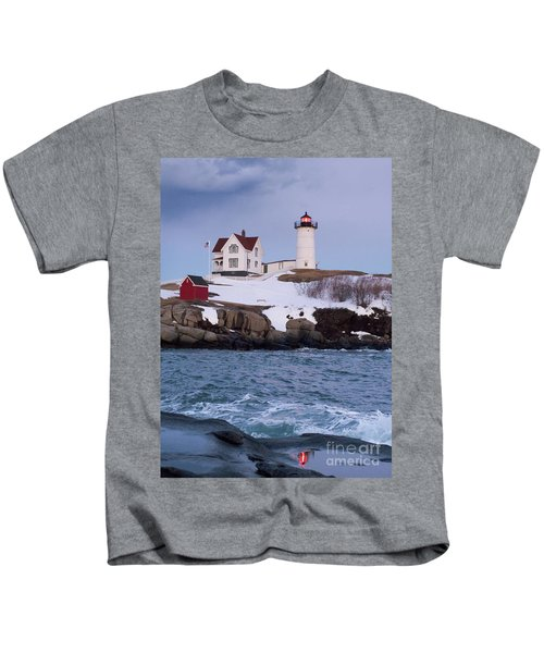 Cape Neddick Light At Dusk, York, Maine 21073 Kids T-Shirt