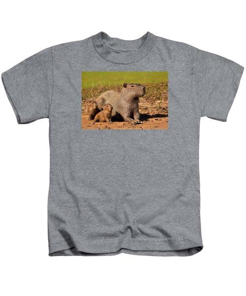 Capybara Family Enjoying Sunset Kids T-Shirt