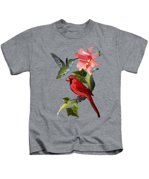 Cardinal On Ivy Branch With Hummingbird And Pink Lily Kids T-Shirt