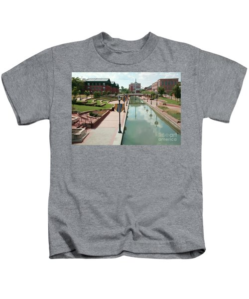 Carroll Creek Park In Frederick Maryland With Watercolor Effect Kids T-Shirt