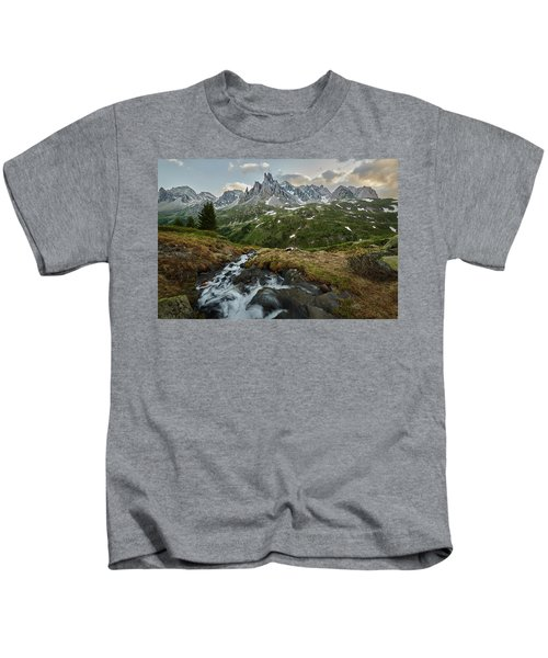 Cascade In The Alps Kids T-Shirt