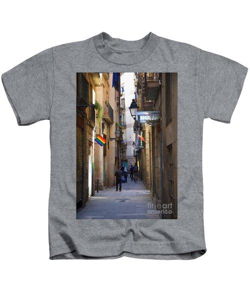 Catalonia Flag La Rambia Gothic Quarter Hotel Spain  Kids T-Shirt