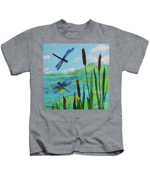 Cattails And Dragonflies Kids T-Shirt
