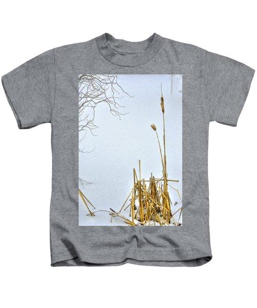 Cattails In Winter Kids T-Shirt