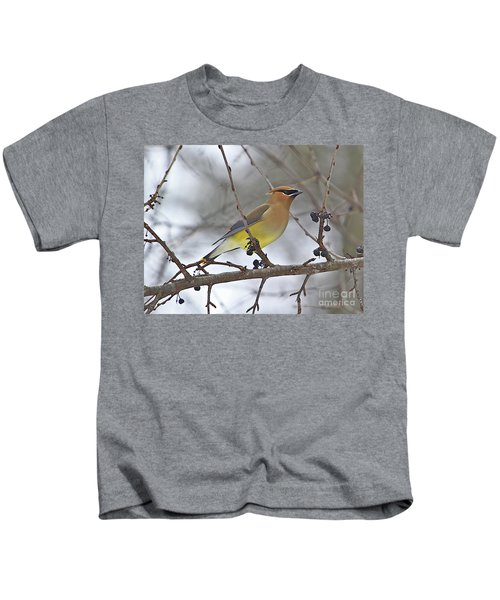 Cedar Wax Wing-2 Kids T-Shirt by Robert Pearson