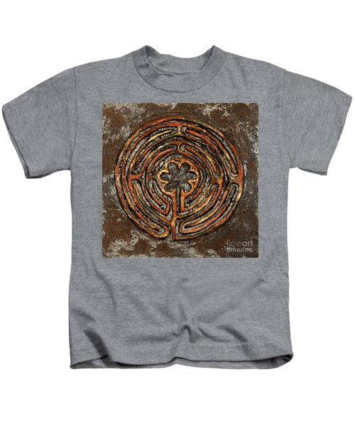 Chartres Style Labyrinth Earth Tones Kids T-Shirt
