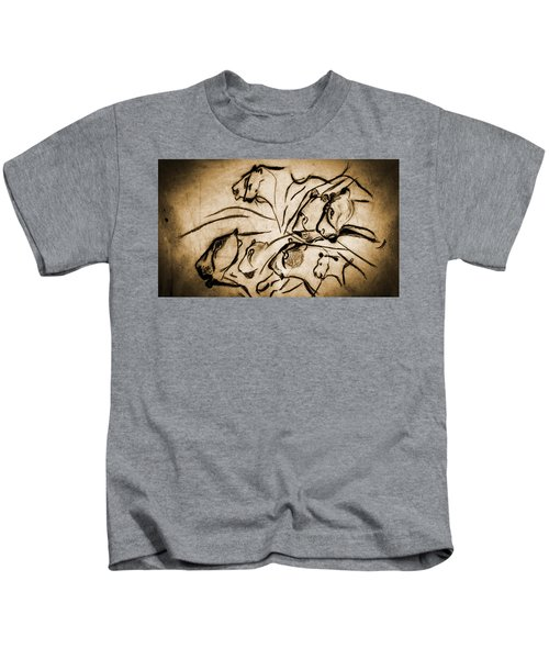 Chauvet Cave Lions Burned Leather Kids T-Shirt