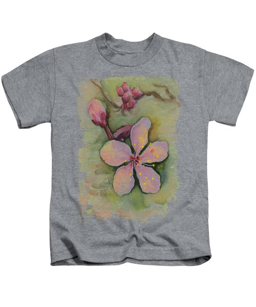 Cherry Blossom Watercolor Kids T-Shirt