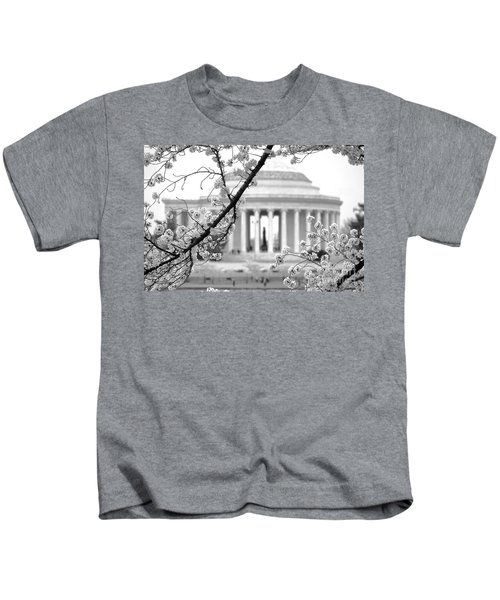 Cherry Tree And Jefferson Memorial Elegance  Kids T-Shirt