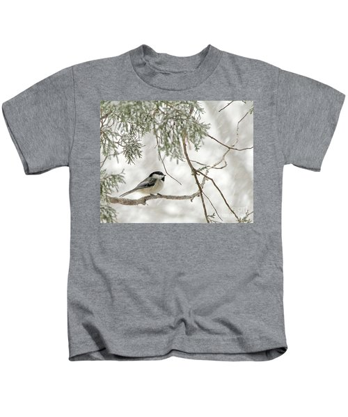 Chicadee In A Snow Storm  Kids T-Shirt