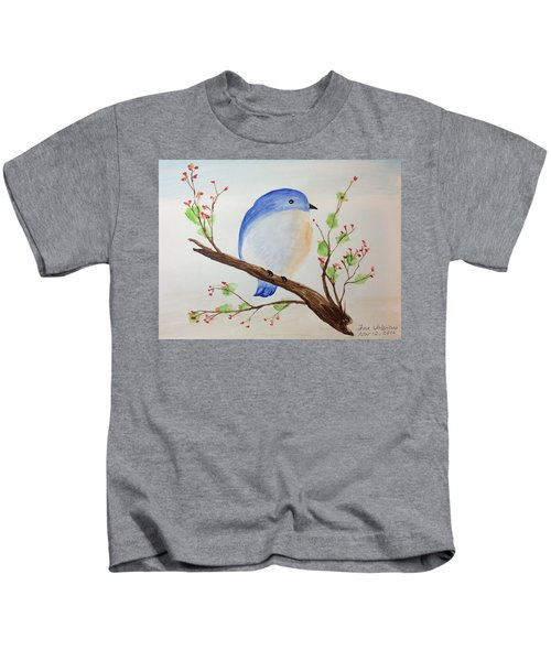 Chickadee On A Branch With Leaves Kids T-Shirt