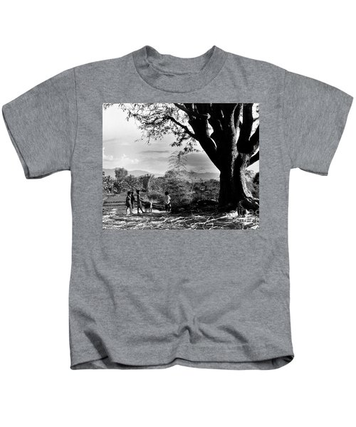 Children Of Central Highland Are Playing With A Dog Kids T-Shirt