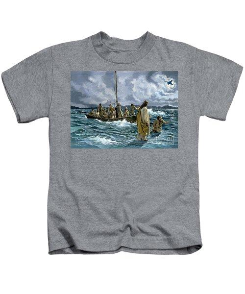 Christ Walking On The Sea Of Galilee Kids T-Shirt