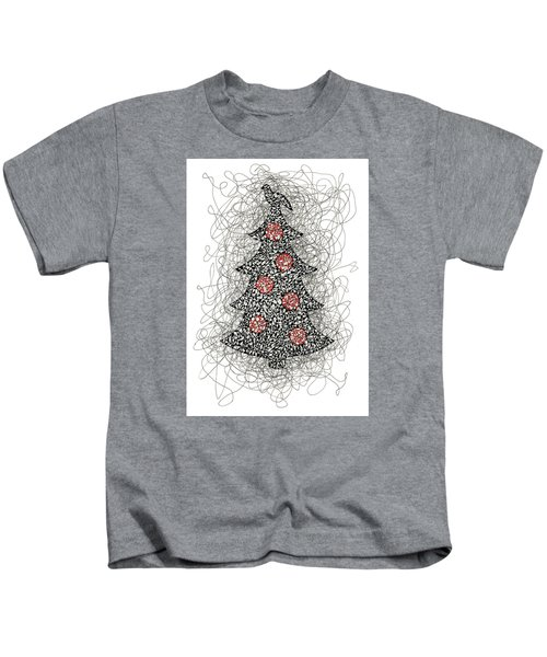 Christmas Tree Pen And Ink Drawing Kids T-Shirt