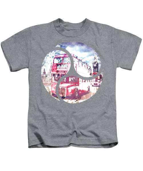City-art London Red Buses On Westminster Bridge Kids T-Shirt by Melanie Viola