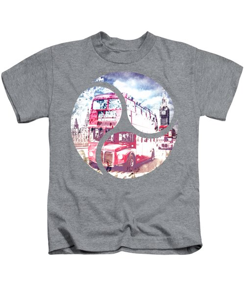 City-art London Red Buses On Westminster Bridge Kids T-Shirt