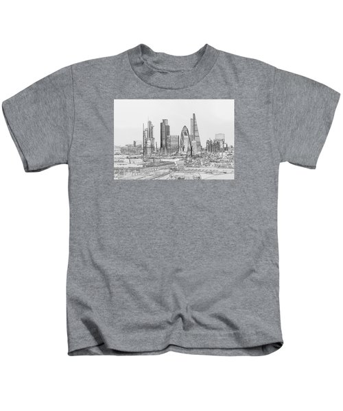 City Of London Outline Poster Bw Kids T-Shirt