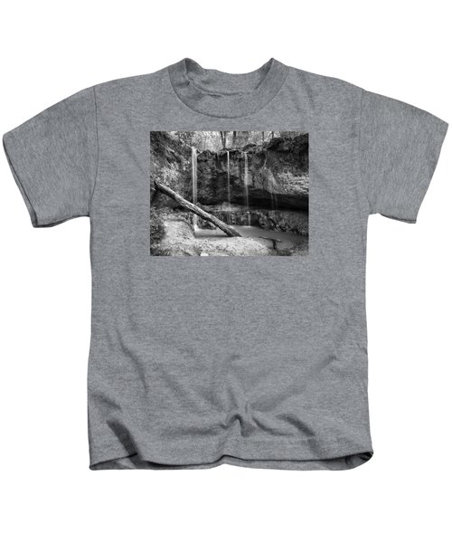Clark Creek Nature Area Waterfall No. 2 In Black And White Kids T-Shirt