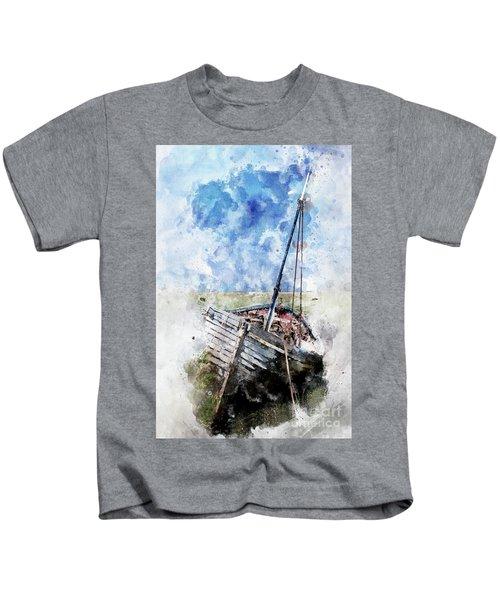Clinker Built Boat Watercolour Kids T-Shirt