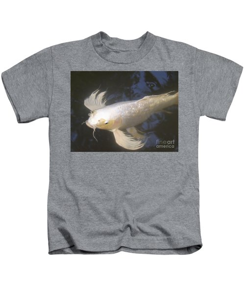 Close-up Of A White Koi In The Garden Pond Kids T-Shirt
