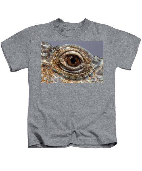Closeup Eye Of Green Iguana Kids T-Shirt