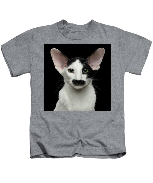 Closeup Funny Oriental Shorthair Looking At Camera Isolated, Bla Kids T-Shirt