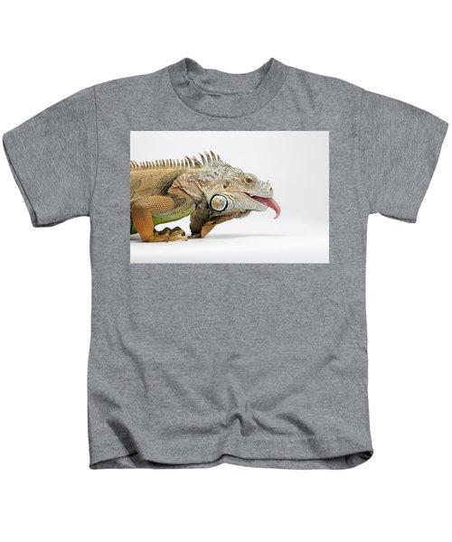 Closeup Green Iguana Showing Tongue On White Kids T-Shirt
