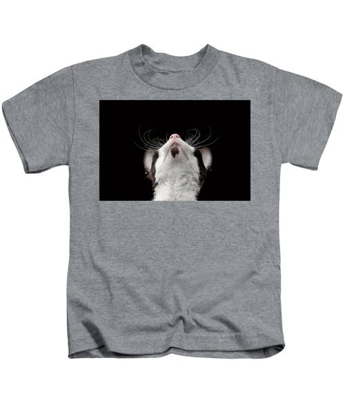 Closeup Portrait Of Cornish Rex Looking Up Isolated On Black  Kids T-Shirt