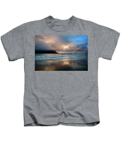 Cloudy Sunset At Hanalei Bay Kids T-Shirt