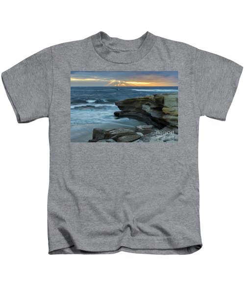 Cloudy Sunset At La Jolla Shores Beach Kids T-Shirt