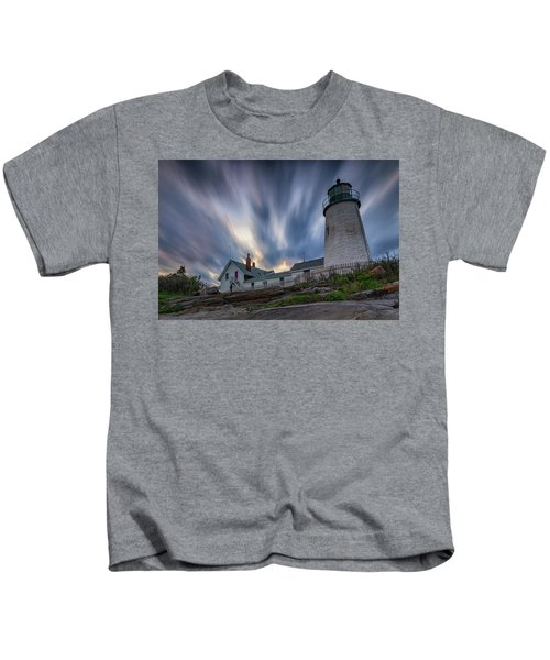 Cloudy Sunset At Pemaquid Point Kids T-Shirt