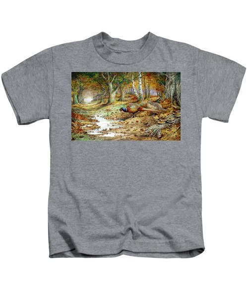Cock Pheasant And Sulphur Tuft Fungi Kids T-Shirt